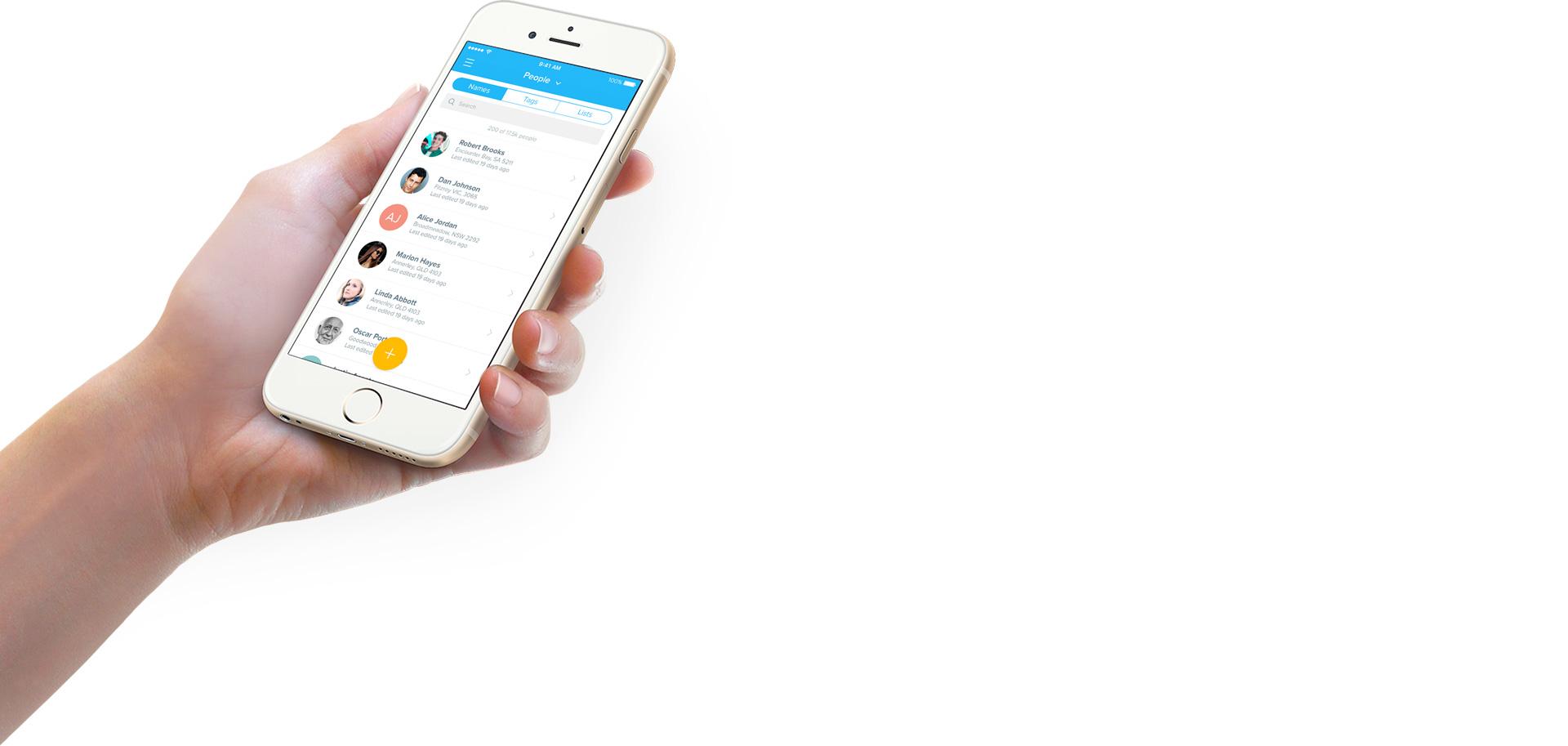 FieldEdge app on iPhone 6 in woman's hand